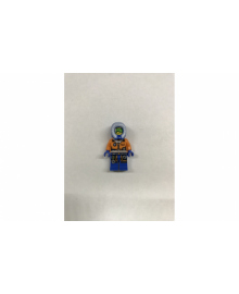 Співробітник арктичної станції в помаранчевій куртці з синім капюшоном