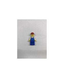 Будівельник в синьому комбінезоні і в червоній будівельній касці