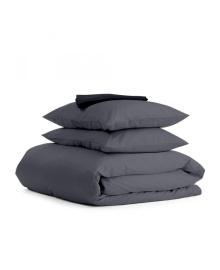 Комплект евро взрослого постельного белья сатин GREY BLACK-S Черный_серый_240_1