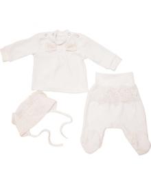Комплект велюровый для крещения кофточка, ползунки и чепчик для девочки Minikin 1711804
