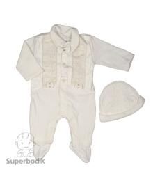 Комплект Крестильный велюровый с бантиком молочный Baby Life  6-44