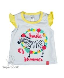 Майка для девочки Jungle белая с желтым Smil 110497