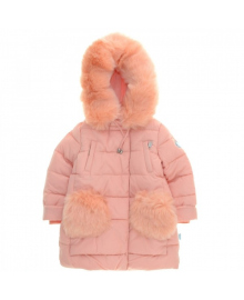 Пальто зимнее для девочки персиковое KIKO 37808