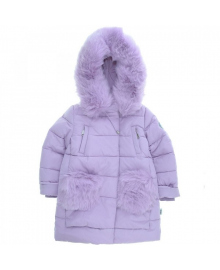 Пальто зимнее для девочки сиреневое KIKO 37808
