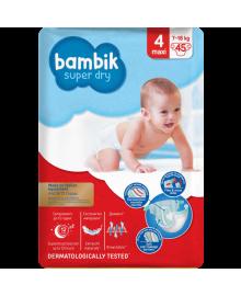 Підгузки дитячі одноразові Jumbo (4) MAXI (7-18 кг), TM Bambik 43405400, 4823071645736