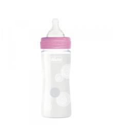Бутылка стеклянная Well-Being 240мл соска силиконовая медленный поток от 0 месяцев, 1шт. (Девочка)