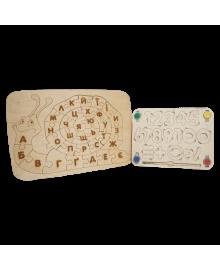 """Детский деревянный набор, планшет «Улитка» + планшет """"Цифры"""" igr670"""