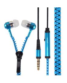 ✓Гарнитура вакуумная Lesko ZIP Змейка Синяя с микрофоном для смартфона разговоров прослушивания музыки 1616-3839