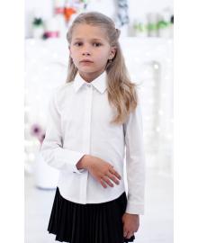 Шкільна класична блуза з прихованою застібкою мод. 2001 біла Свит блуз Мод. 2001 белая
