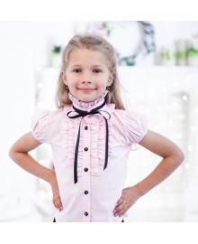 """Шкільна рожева нарядна блузка """"Світ блуз"""" з рюшами і чорною стрічкою Свит блуз 2071к"""