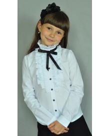 Шкільна нарядна блузка Світ блуз з рюшами і чорною стрічкою мод. 2071д Свит блуз мод.2071длинный рукав