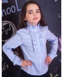 Шкільна блузка зі стійкою і жабо мод. 2037 блакитна Свит блуз Мод. 2037 голубой
