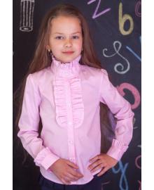 Шкільна блузочка зі стійкою мод.2037 у рожевому Свит блуз Мод. 2037 розовый