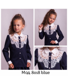 Нарядна Блузка з мереживом Світ блуз мод. 8018 в синьому кольорі Свит блуз