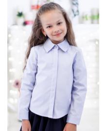 Шкільна класична блуза з прихованою застібкою мод. 2001 блакитна Свит блуз Мод. 2001 голубая