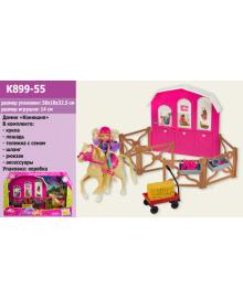 Кукла маленькая K899-55 (9шт) 'Наездница', шлем,лошадь,манеж,тележка с сеном,в кор.50,5*10*33см 2058