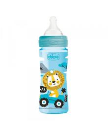 Бутылка пластиковая Well-Being 250мл. соска силиконовая от 2 месяцев средний поток (мальчик)