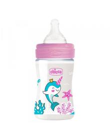 Бутылка пластиковая Well-Being 150мл соска силиконовая от 0 месяцев медленный поток (девочка)