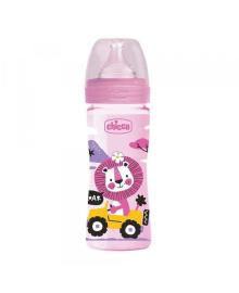 Бутылка пластиковая Well-Being 250мл. соска силиконовая от 2 месяцев средний поток (девочка)