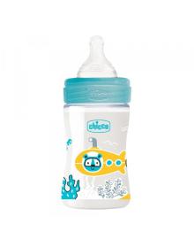 Бутылка пластиковая Well-Being 150мл соска силиконовая от 0 месяцев медленный поток (мальчик)