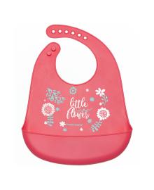 Нагрудник силиконовый Canpol Babies Little Flower Розовый