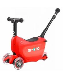 Самокат MICRO серии Mini2go Deluxe Plus – КРАСНЫЙ (до 50 kg, до 20 kg с сидением, 3-х кол.)