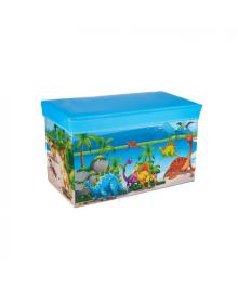 Корзина ящик-пуф для игрушек MR 0362-5 (Динозаврики, Голубой)