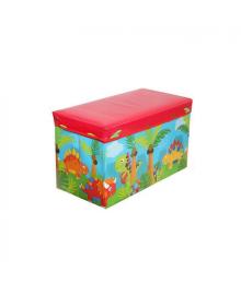 Корзина ящик-пуф для игрушек MR 0362-4 (Динозаврики, Красный)