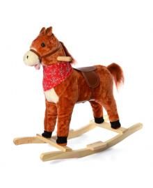 Детская качалка лошадка MP 2162 шевелит ртом и хвостом (Рыжый) MP 2162(Redhead)