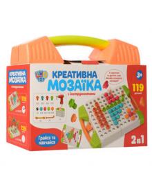 Детская развивающая мозаика с шуруповертом M 5479, 119 деталей (Оранжевый) M 5479(Orange)