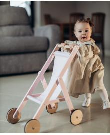 Дерев'яна коляска для ляльок Stroller Fancy рожева