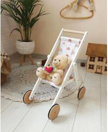 Дерев'яна коляска для ляльок Stroller Fancy біла