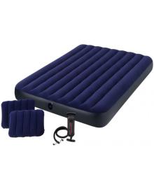Матрас надувной Intex Велюр с подушками и насосом 152х203см синий (64765)