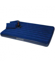 Матрас надувной Intex Велюр + 2 подушки и насос 152х203см синий (68765)