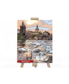 Картина для рисования по номерам Danko Toys Белые лебеди 40х50см (KPN-01-04U)