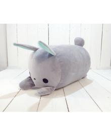 Мягкая игрушка подушка валик Strekoza заяц Флип-Флоп 39см серый