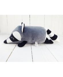 Мягкая игрушка валик Strekoza малыш Енот 31 см серый Е 04с