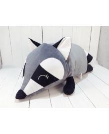 Мягкая игрушка подушка валик Strekoza Енот 60 см серый большой Е 04Л
