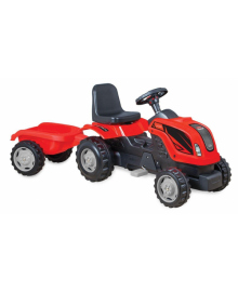 Трактор на педалях MMX MICROMAX (01-010) с прицепом красный
