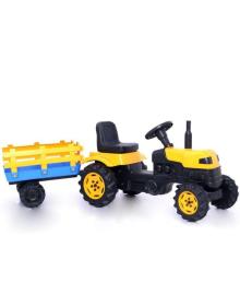 Детский трактор на педалях (2005) с прицепом желтый