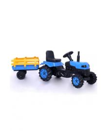 Детский трактор на педалях (2005) с прицепом синий