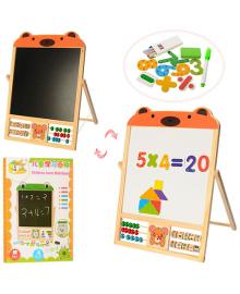 Детская развивающая деревянная доска для рисования с цифрами и фигурами MD 1028-B Мишка