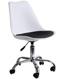 Крісло Bonro B-487 на колесах біле з чорним сидінням (42300042)
