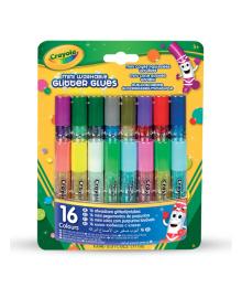 Набор клея Crayola Mini Washable glitter glue с блестками 16 шт