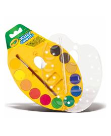 Палитра акварельных красок Crayola Water Colors с кисточкой 12 шт