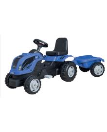 Трактор на педалях MMX MICROMAX (01-012) с прицепом синий