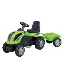 Трактор на педалях MMX MICROMAX (01-011) с прицепом зеленый