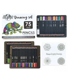 Большой набор цветных карандашей, ластик, точилка и раскраска мандала 30 листов Art Planet