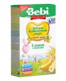 Уценка. Безмолочная каша Bebi Premium 5 злаков с бананом, 200 г