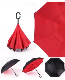 Умный зонт Supretto Наоборот, красный (4687)